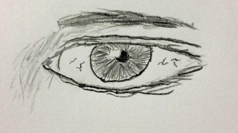 Bleistiftzeichnung eines Auges