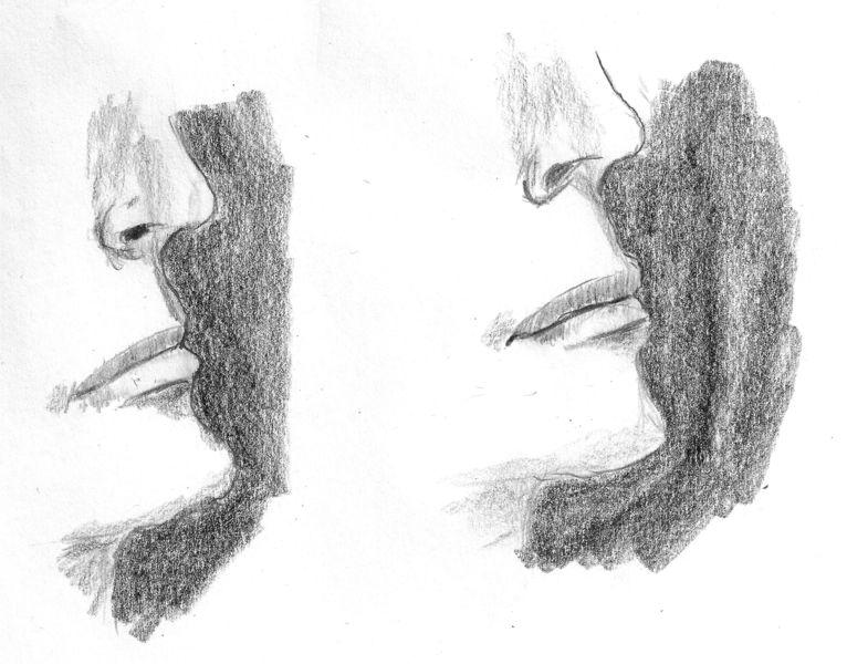 Bleistiftzeichnung von zwei Mündern im Seitenprofil